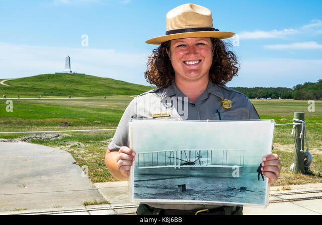 North Carolina NC Atlantic Ocean Outer Banks Kill Devil Hills Wright Brothers National Memorial aviation history - Stock Image