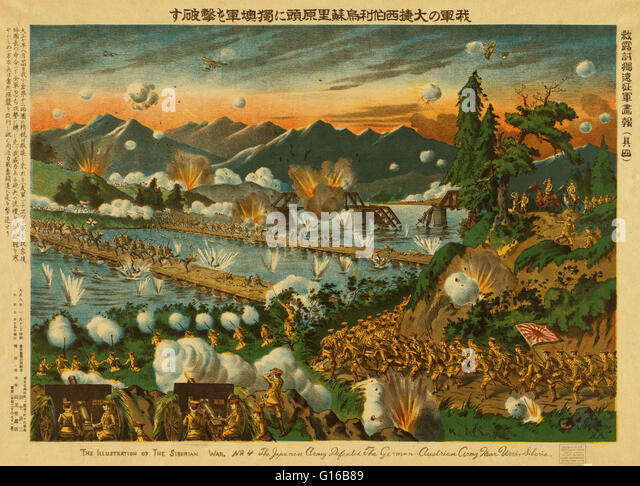 Entitled: 'The Japanese army defeated the German-Austrian Army near Usri (Ussuri), Siberia.' The Siberian - Stock Image