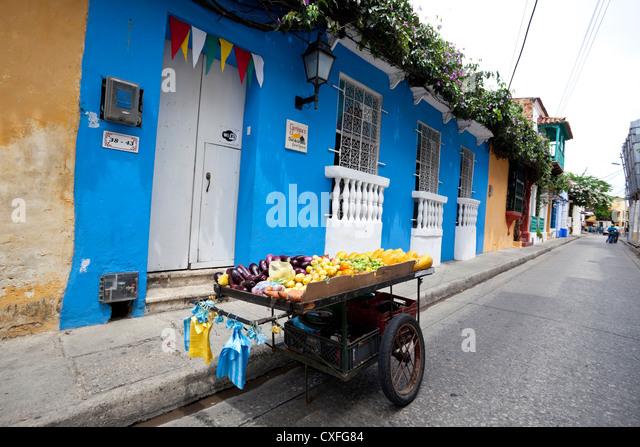 Street scene in Cartagena de Indias, Colombia - Stock Image