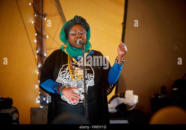Poetic Pilgrimage email girl rapper hip hop - Stock Image