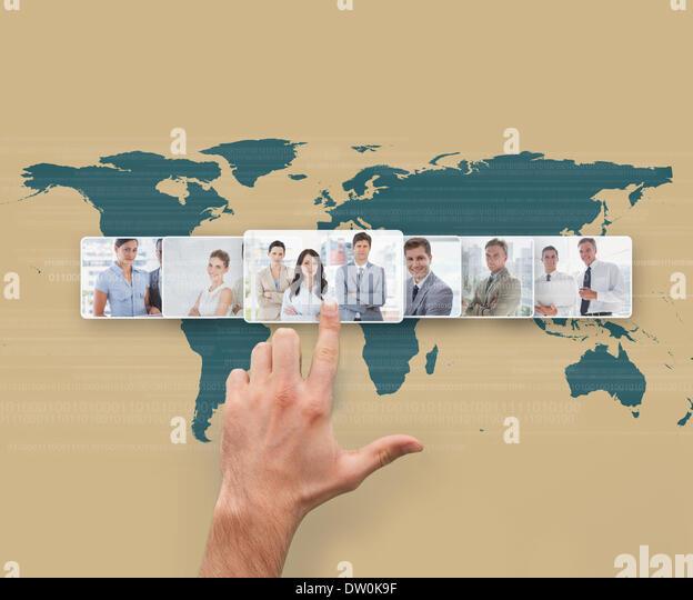 Hand selecting futuristic interface - Stock Image