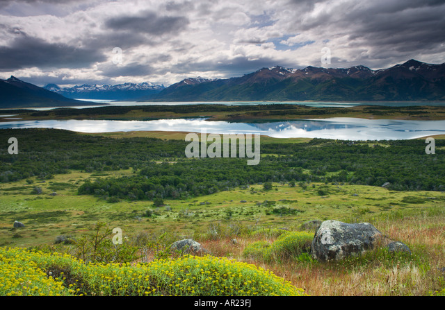 Lakes and mountains in Los Glaciares National Park, Patagonia, Argentina - Stock Image