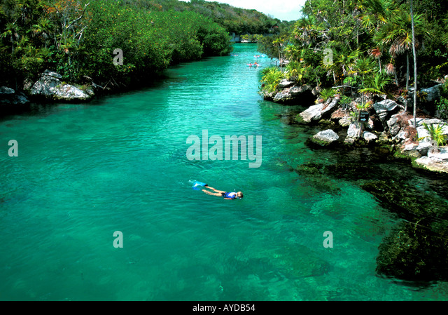 Mexico Yucatan Cancun Play Del Carmen  area above Xel Ha water park snorkeling - Stock Image