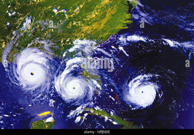 Tracking Hurricane Andrew, GOES Images, 1992 - Stock Image