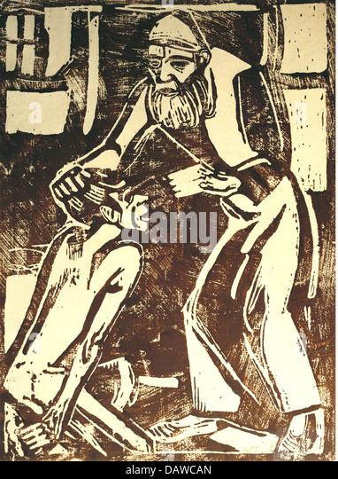 fine arts, Rohlfs, Christian (1849 - 1938), graphic, 'Return of the Prodigal Son', woodcut, 1916, Kusthalle - Stock-Bilder