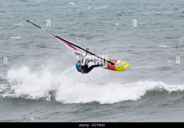 Wind Surfing; Cornwall; UK - Stock Image