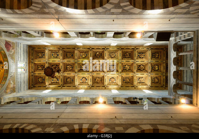 Pisa cathedral inside stock photos pisa cathedral inside for Coffered cathedral ceiling