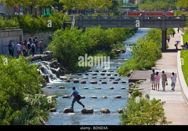 Cheonggyecheon River in Seoul South Korea - Stock Image