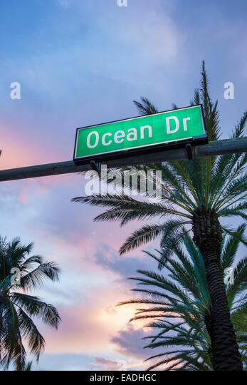 Miami Beach Florida Art Deco District Ocean Drive dusk evening night sign palm trees - Stock Image