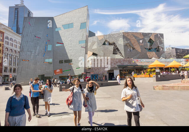 Melbourne Australia Victoria Central Business District CBD Federation Square student teen girl Muslim class field - Stock Image