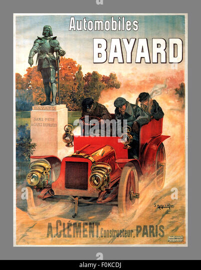 1900's CAR RACE AUTOMOBILES BAYARD CLEMENT PARIS FRENCH VINTAGE POSTER - Stock Image
