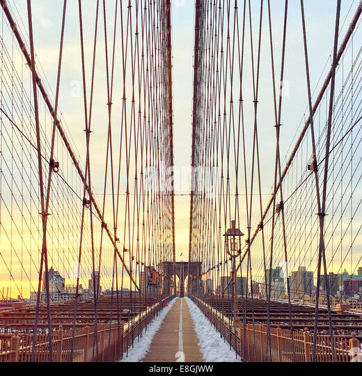Brooklyn bridge at sunset, New York, America, USA - Stock Image