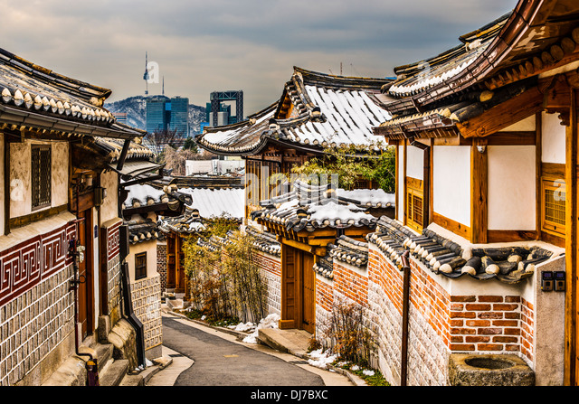 Seoul, South Korea at the Bukchon Hanok historic district. - Stock Image