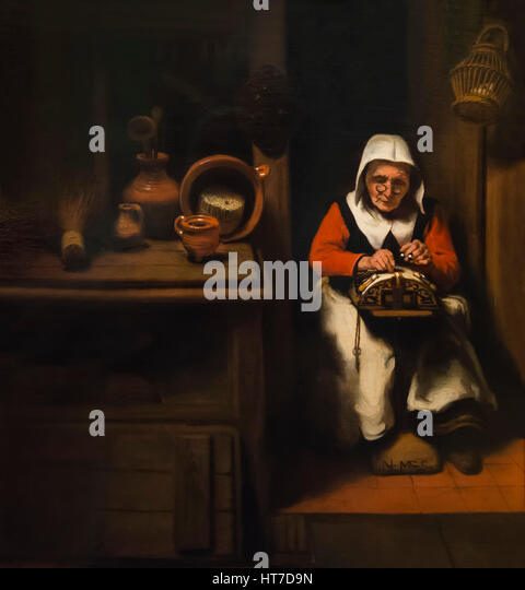 Old Lacemaker, by Nicholas Maes, 1655, Royal Art Gallery, Mauritshuis Museum, The Hague, Netherlands, Europe - Stock Image