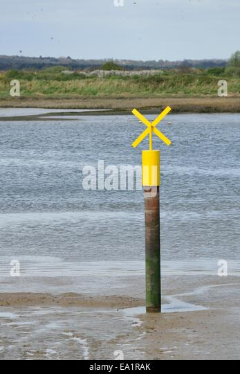 Boating sign in creek - Stock Image
