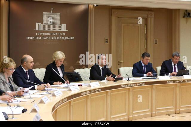 Moscow, Russia. 22nd July, 2014. Russia's health minister Veronika Skvortsova, finance minister Anton Siluanov, - Stock Image