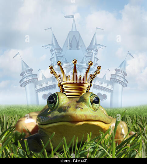 Frog prince castle concept with gold crown representing the fairy tale symbol of hope romance and change in a transformation - Stock Image