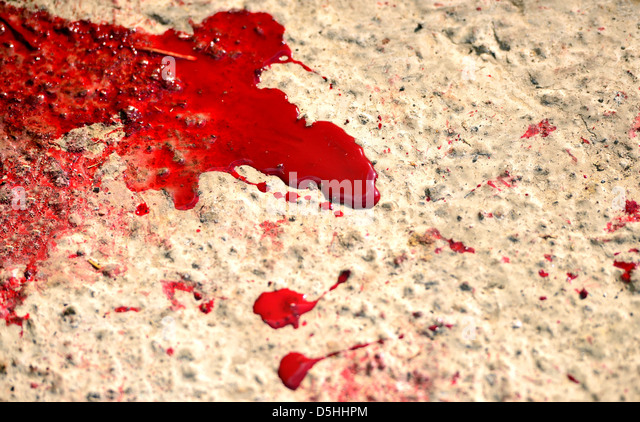 Messy red stains of blood - Stock Image