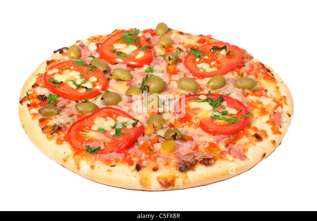 Fresh pizza with slice on a white background - Stock Image