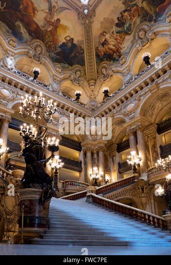 Staircase at the Opéra National de Paris Garnier, Paris, France. - Stock Image