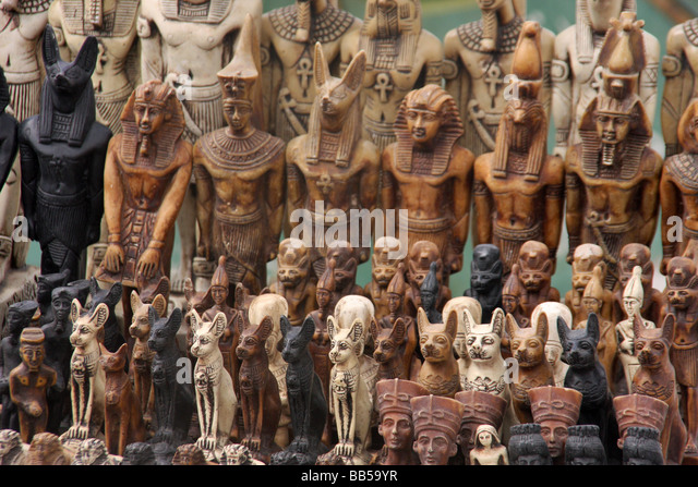 Egypt egyptian souvenir statues stock photos