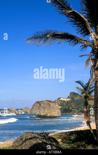 Barbados beach on the  Atlantic Coast near Bathsheba iconic boulder rock Barbados island symbol - Stock Image