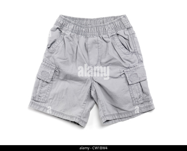 Gray boys shorts children clothing isolated on white background - Stock Image
