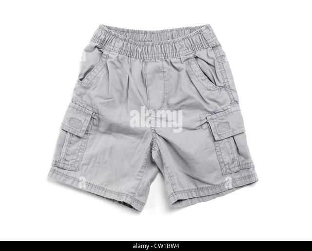 Gray boys shorts children clothing isolated on white background - Stock Image