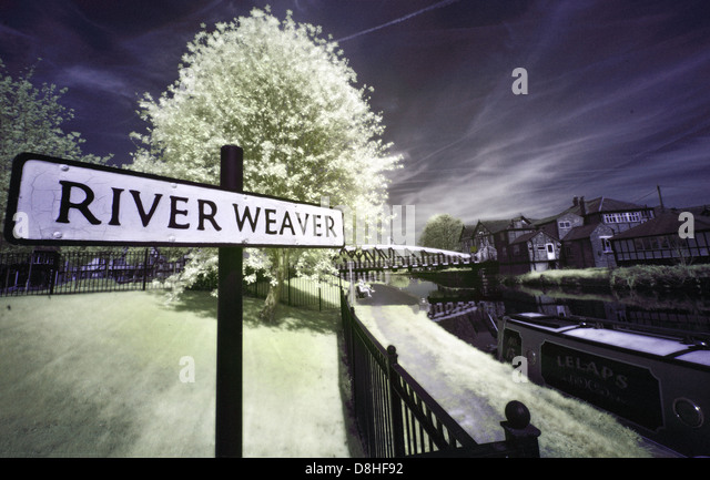 Infrared view of The River Weaver at Northwich Cheshire in summer , England UK - Stock Image