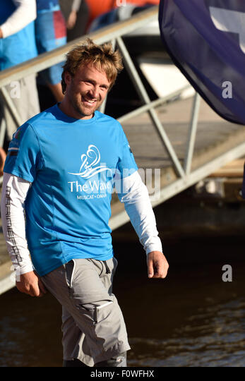 St. Petersburg, Russia, 21st August, 2015. Skipper of The Wave, Muscat sailing team Leigh McMillan from United Kingdom - Stock Image