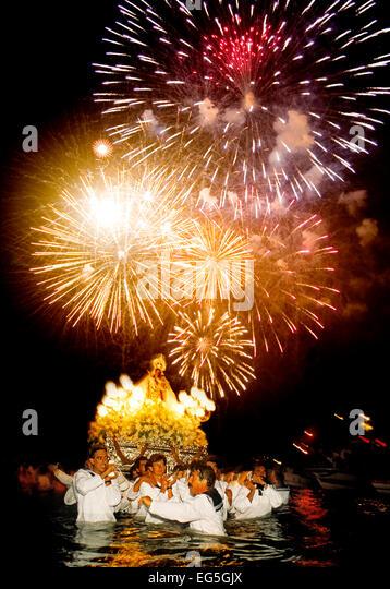 Fireworks seafaring procession Virgen del Carmen Fuengirola Malaga Andalusia Spain - Stock Image
