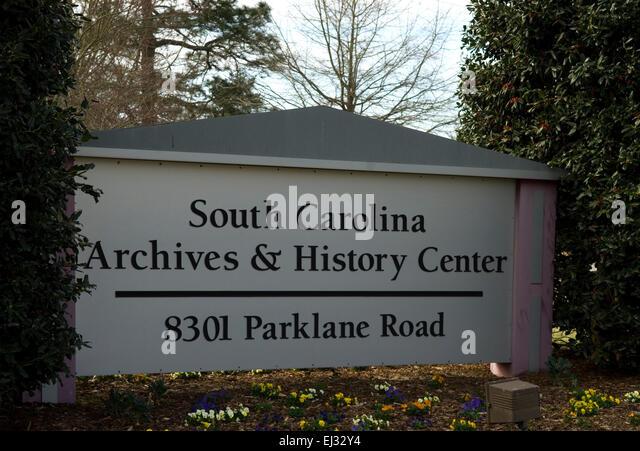 South Carolina Archives HIstory Center Sign Columbia USA - Stock Image