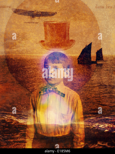Vintage enlightened boy with big dreams. - Stock Image
