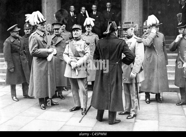 Ferdinand Foch, Henri Philippe Petain and David Beatty, 1928 - Stock Image