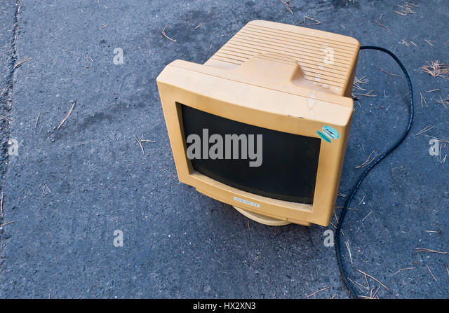 old CRT monitor - Stock Image