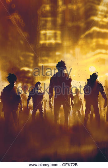 zombie crowd walking in city at night,halloween concept,illustration painting - Stock-Bilder