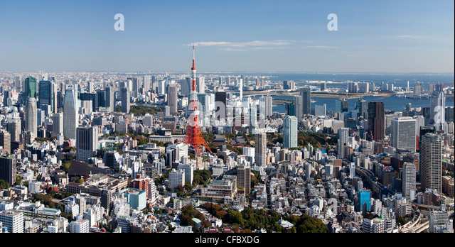 Japan, Asia, Tokyo, city, Tokyo, architecture, big, buildings, busy, huge, metropolis, panorama, skyline, tower, - Stock Image