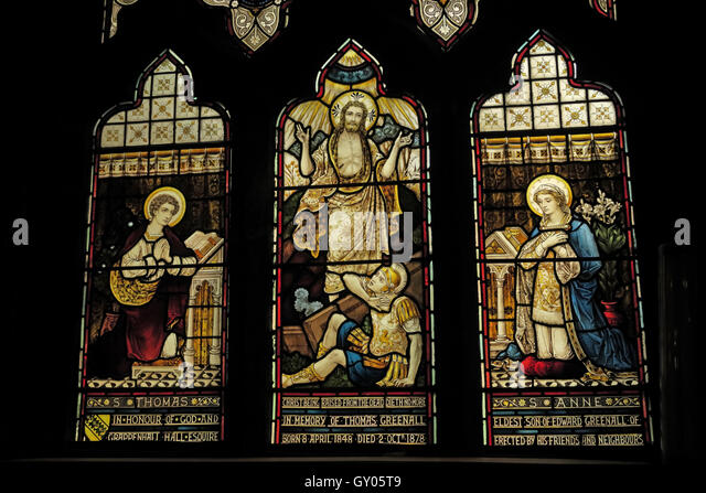 St Wilfrids Church Grappenhall- Thomas Anne Greenall stained glass WindowWarrington - Stock Image