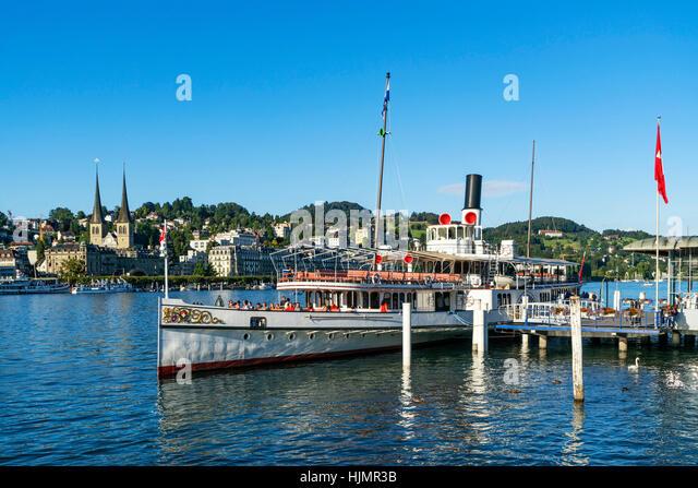 Steam boat, Lake Lucerne, Lucerne, Switzerland - Stock Image