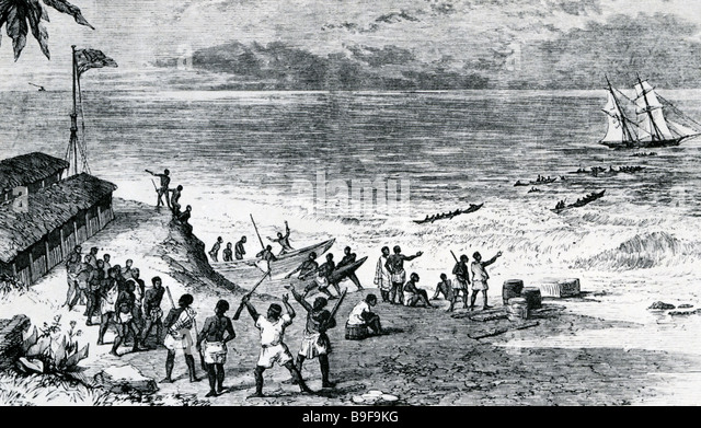PORTUGESE slavers sending heir captives out to their ship off the West coast of Africa in the mid 1800s - Stock Image