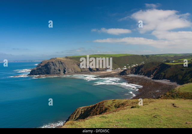 Crackington Haven and Pencannow Point from Cambeak, Cornwall - Stock Image