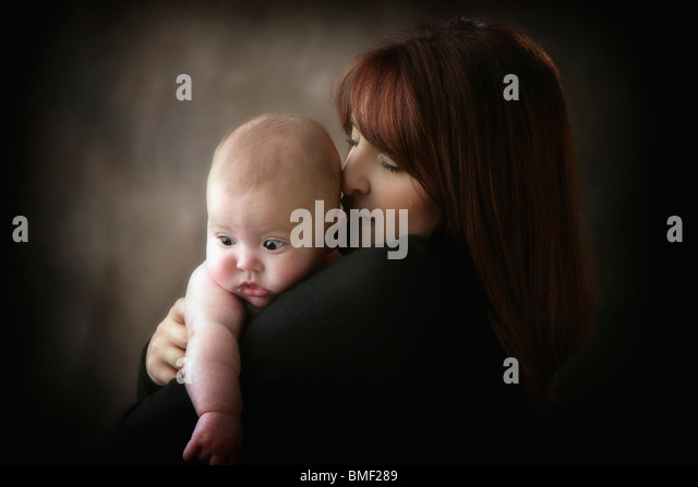 A Mother And Her Infant Son - Stock Image