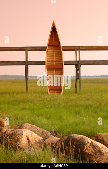 Hand Built wooden canoe Cape Cod Massachusetts - Stock Image