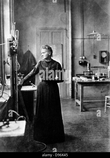 Marie Curie (1867-1934) Polish-born French physicist in her laboratory, 1912, the year after she was awarded her - Stock Image