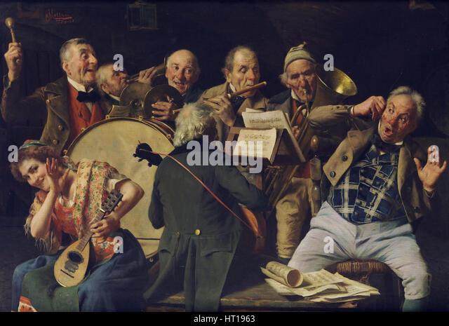 An orchestra rehearsal, c. 1920. Artist: Massani, Pompeo (1850-1920) - Stock-Bilder