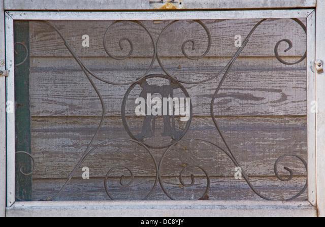 Aluminum screened door. - Stock Image