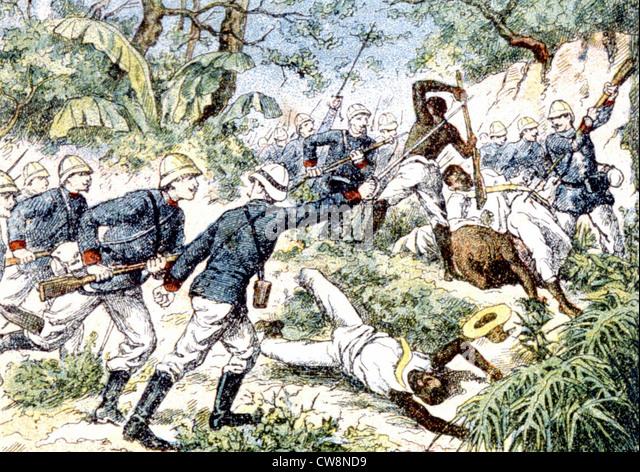 Madagascar, colonization, illustration - Stock Image