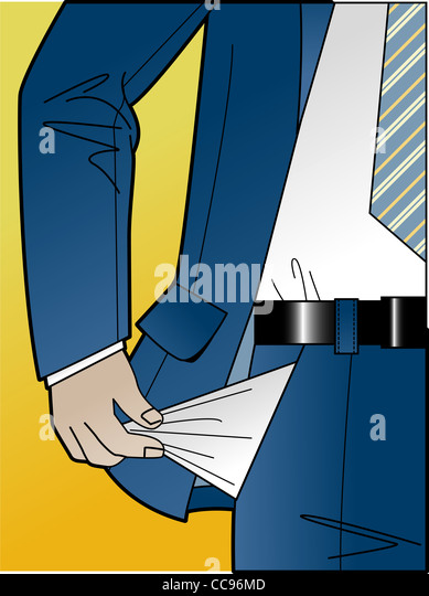 A business man emptying his pockets - Stock Image