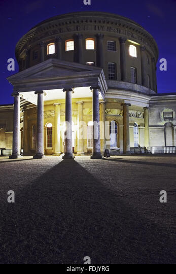 The Rotunda at Ickworth lit up at night, for a special opening during the outdoor cinema event 'Stately Screenings' - Stock-Bilder