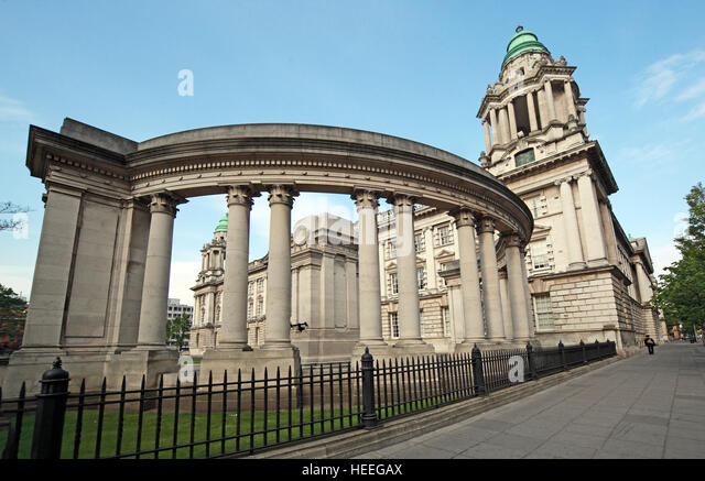 Belfast City Hall Baroque Revival Architecture, Donegall Square, Northern Ireland, UK - Stock Image